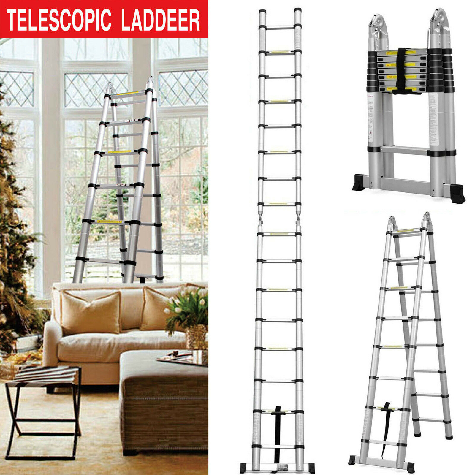 Retractable Climb 16 Steps Compact Save Space Extend to 5m (2.5m+2.5m) Ladder UK