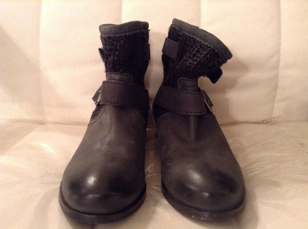 Skechers Women's Bikers-Flare Ankle Bootie Black Boots Relaxed Fit Size 8