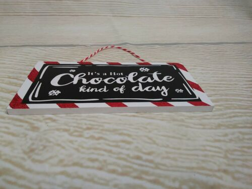 """/""""HOT CHOCOLATE Kind of Day/"""" Wood Sign Winter  Decor Christmas Ornament Fall New"""