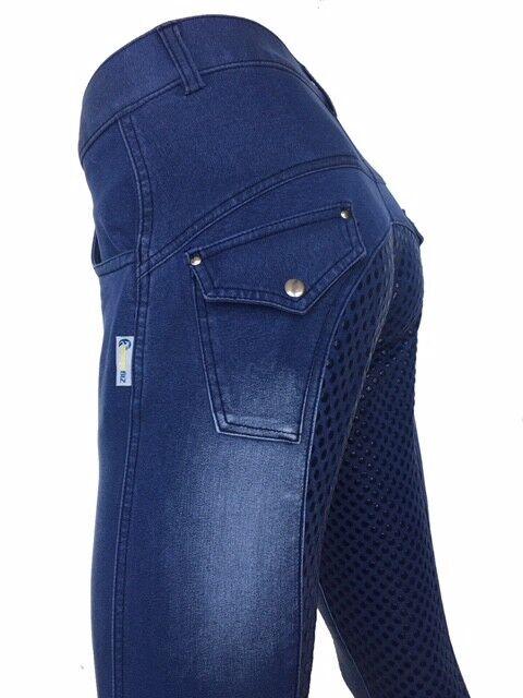 Ladies Denim Full Seat Silicone Grip Jodhpurs  Sizes 8-22 small sizing