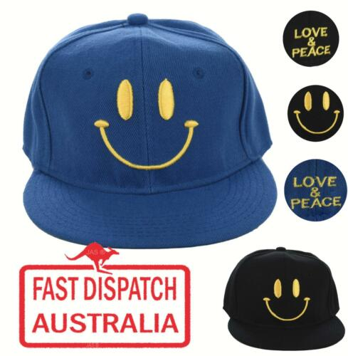 Flat Peak Brim Visor Baseball Cap Hat Smiley Face Love and Peace SMILE Fitted