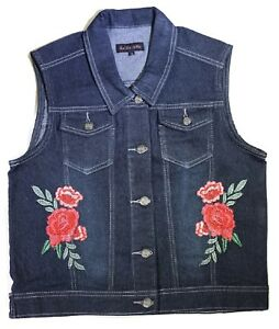 e1a750b8b4e Women s Plus Size Sleeveless Denim Vest With Floral Embroidery ...