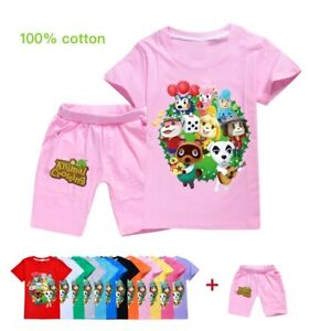 Girls-Animal-Crossing-Cotton-Short-Sleeve-T-shirt-Tops-Shorts-Casual-Tracksuit