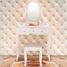 5 Drawer & Mirror Makeup Vanity Table Set w/Stool Jewelry Wood White Desk