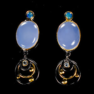 Vintage-SET-Natural-Chalcedony-925-Sterling-Silver-Earrings-E36379