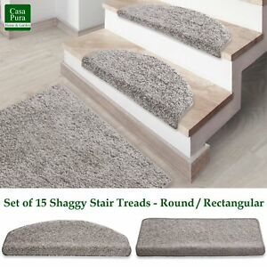 Image Is Loading Shaggy Stair Mats Silver Stair Treads Non Slip