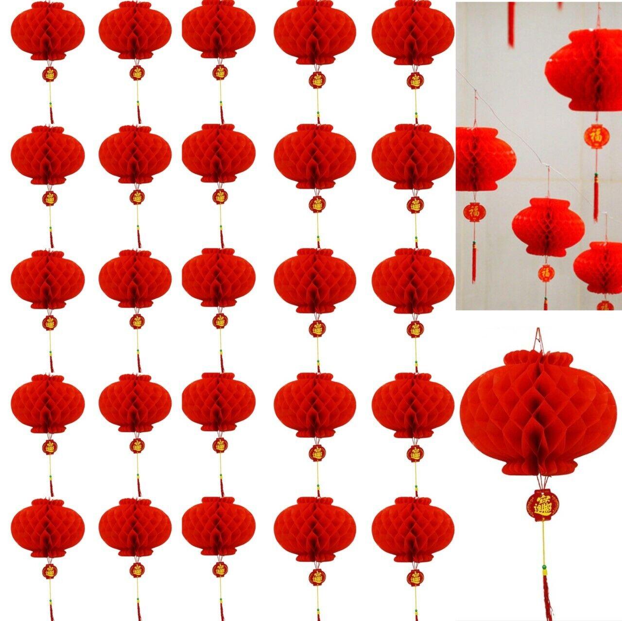 20 X oro rojo Año Nuevo Chino linternas de papel 15cm Decoraciones Mega Valor Set Reino Unido