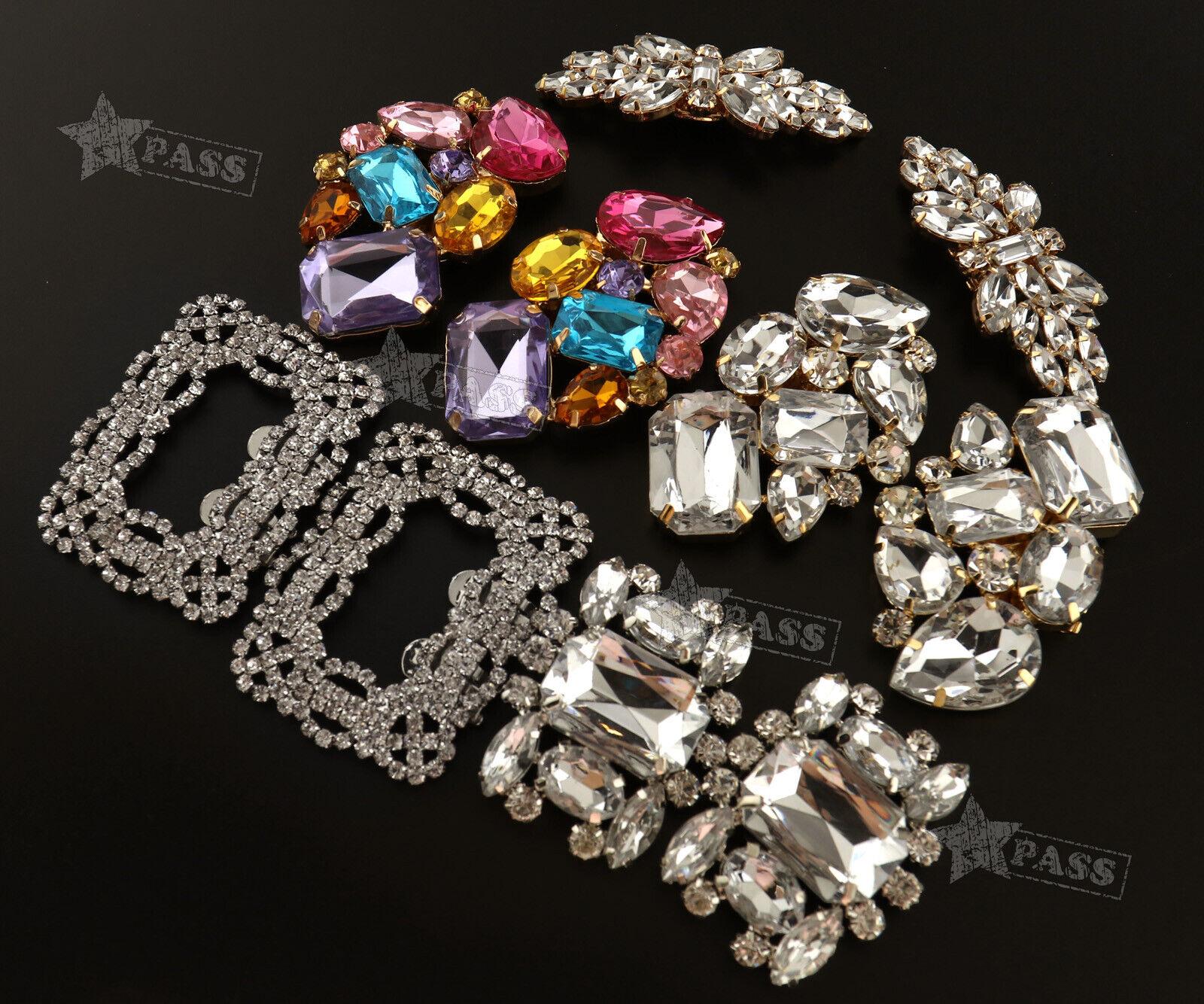 2Pcs Crystal Shoe Clips Charm Bridal Rhinestone Shoes Decor Portable