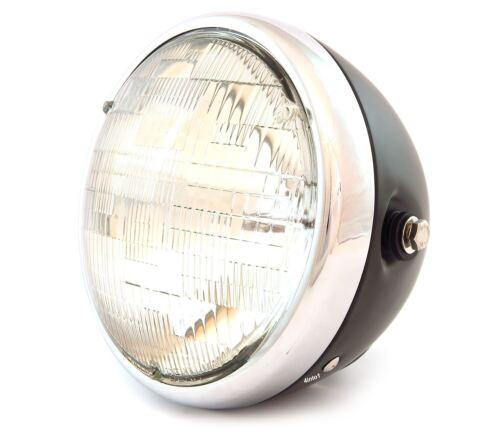 "Matte Black 7/"" Custom Side Mount Motorcycle Headlight Clear Chrome"