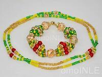 Ilde Santeria Ifa Orisha Bracelet & Collar Idde Mazo Ochun Ololodi Glass &coral