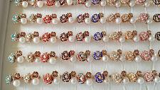 Job lot of 50 pcs Rose flower Diamante Fashion Rings - NEW Wholesale lot K1