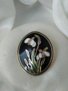 Vintage-Signed-Fish-Cloisonne-Enamel-Snowdrop-Flower-Gold-Plated-Brooch-Pin