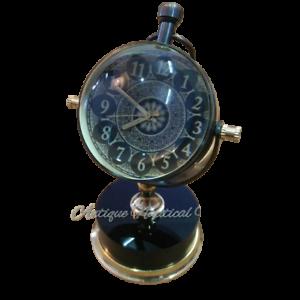 Antique-Brass-Desk-Clock-Mechanical-Vintage-Table-Top-Decorative