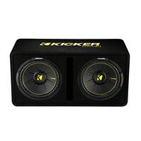 Kicker Dual 12-inch 1200 Watt 2 Ohm Vented Loaded Subwoofer Enclosure, 44dcwc122