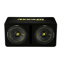 Kicker Dual 12-inch 1200 Watt 2 Ohm Vented Loaded Subwoofer Enclosure, 44dcwc122
