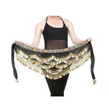New Belly Dance Velvet & Golden Coins Belt Dancer Hip Skirt Scarf Wrap 4 colors