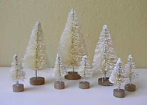 8 Mini Natural White Sisal Bottle Brush CHRISTMAS TREES Snow Frost Village Putz