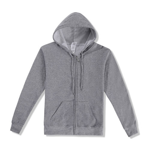 Plain Hoodie Zip Up Warm Hooded Jackets Sports Sweatshirt Zipper Coat Tops