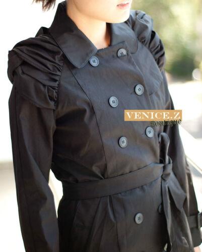 Trench Coat Jacket Ruched Shoulder Pink// Black j01 BNWT Runway Double Br sale