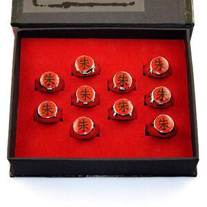 Top Anime NARUTO Itachi Uchiha Zhu Metal Finger Ring Cosplay Collection Gift Box