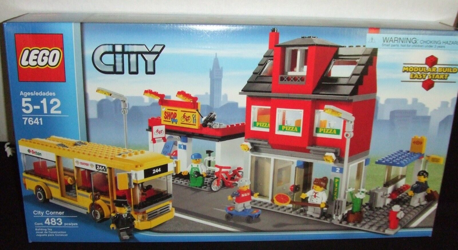 LEGO  7641 CITY CORNER SET 483pc BUS & PIZZA SHOP+ NEW 2009 UNOPENED NICE BOX