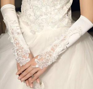 Brauthandschuhe-fingerlos-Braut-Handschuhe-Perlen-Strass-Hochzeit-Weiss-Ivory