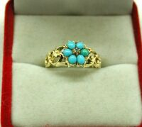Antique Lovely 15ct Gold Turquoise And Diamond Hair Locket Mourning Ring