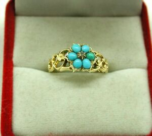 Antique-Lovely-15ct-Gold-Turquoise-And-Diamond-Hair-Locket-Mourning-Ring