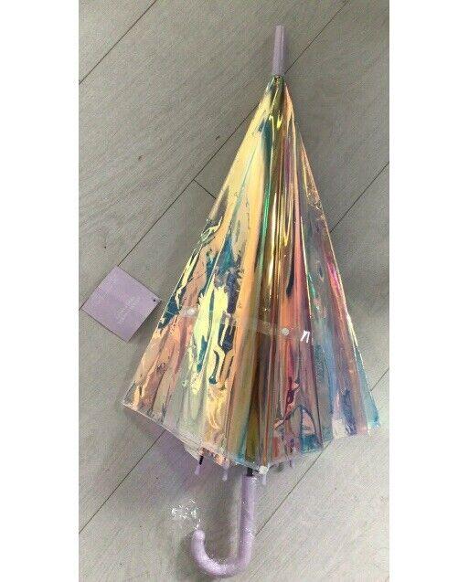 ! totalmente Nuevo! para Mujeres/Niñas de Ariana Grande Iridiscente paraguas Stick + Gancho de Mango