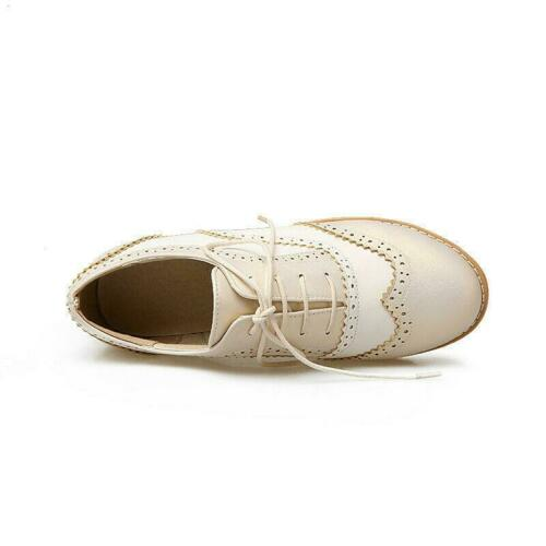 New Women Lace Up Saddle Oxford Shoes Black And White Cuban Heel Casual Brogues
