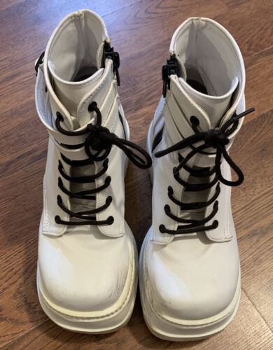 Demonia Womens Space Boots White Size 8 Look at pi