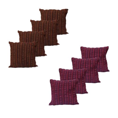 Pack of 4 Seersucker Polyester// Nylon Cushion Covers 43 x 43 cm
