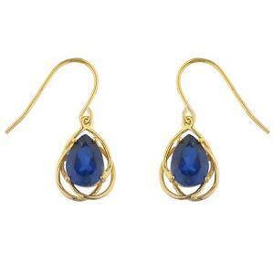 Details About 14kt Gold 4 Ct Blue Shire Pear Teardrop Design Dangle Earrings
