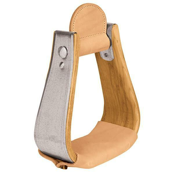 WEAVER WOODEN STIRRUPS WITH LEATHER TREADS, OVERSHOE VISALIA 30-2870-3
