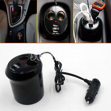 12V Car Cigarette Lighter Dual Socket Splitter 2 USB port charger Power Adapter