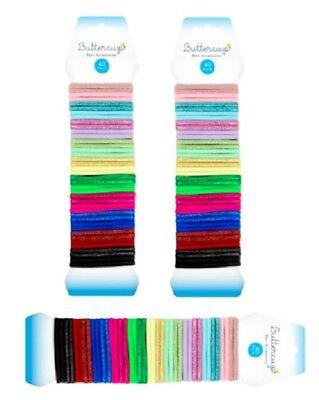 40Pk Hair Elastics Hairbands Assorted Colour /& Glitter Bands Ponytail Holders