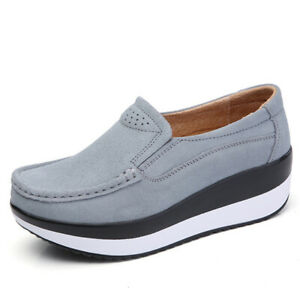 Women-Large-Size-Rocker-Sole-Platform-Shoes-Wedge-Suede-Slip-On-Casual-Loafers