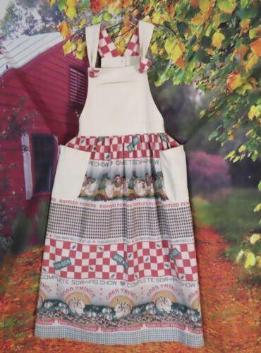 Darling Vtg Feed Sack Print Maxi Apron Dress Jumpe