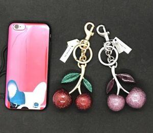 NWT-Coach-Keychain-Glitter-Cherry-Bag-Charm-F58516