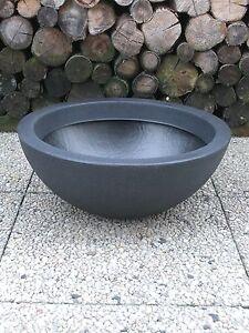Pflanzkuebel-Pflanzschale-Blumenschale-52-cm-Kunststoff-anthrazit-steinoptik