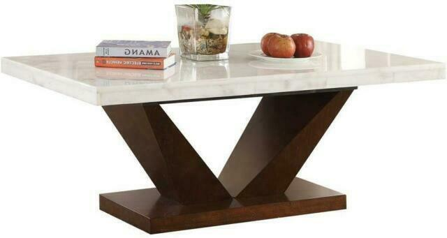 Acme 72120 Forbes Marble Dining Table Walnut And White For Sale Online Ebay