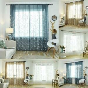 Romantic-Floral-Tulle-Voile-Window-Curtain-Drape-Door-Panel-Sheer-Scarf-Valances