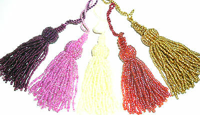 CUSHION//CURTAINS STUNNING CRYSTAL FLOWER KEY TASSELS WITH CLIP X4 ASSORTED COLS