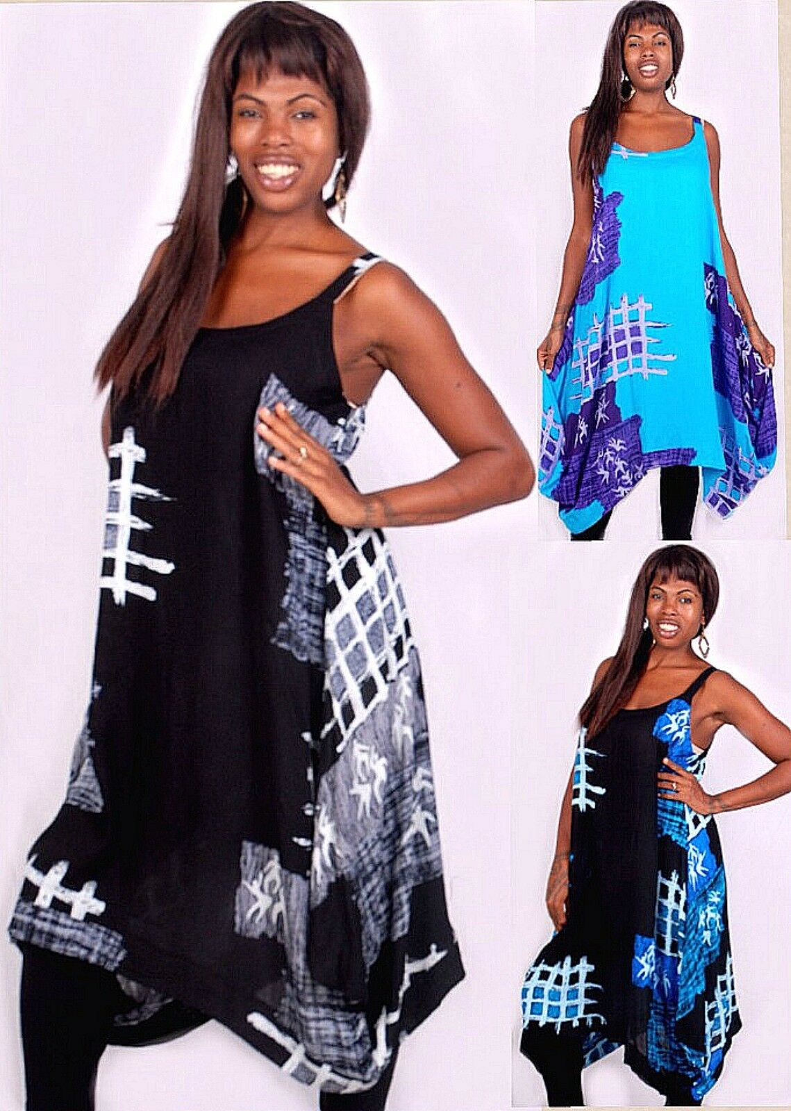 Pick Farbe jumper vest top mini dress block print swing comfy  M L XL 1X