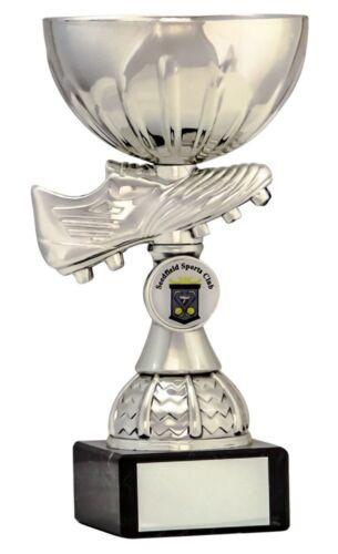 Silver Football Boot Cup sur carte de montage de trophées Awards 4 Tailles Gravure Gratuite