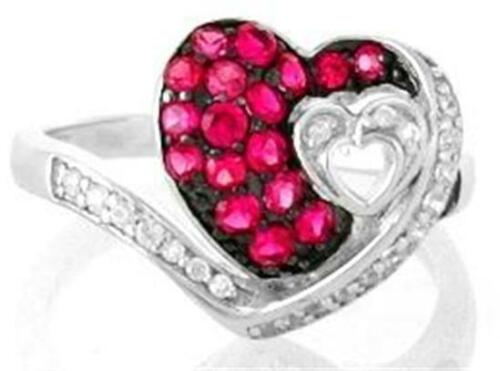 Details about  /STERLING SILVER RED SPINEL /& WHITE CZ DOUBLE HEART RING
