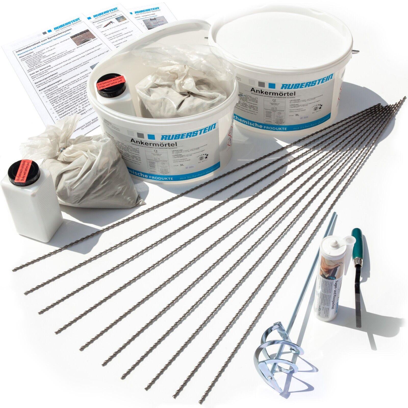 Ruberstein® Spiralanker Starterset 6,8,10 mm für die Risssanierung im Mauerwerk