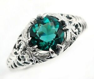 2CT-Apatite-925-Solid-Sterling-Silver-Edwardian-Look-Ring-Jewelry-Sz-9-U-32