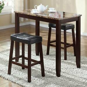 Roundhill Furniture 3 Piece Counter Height Glossy Print Marble Breakfast Table W 694991940683 Ebay