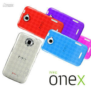 Checked-Gel-TPU-Jelly-Soft-Case-Cover-For-HTC-ONE-X-XL-Screen-Guard